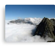 Alps in mist & moutains Canvas Print