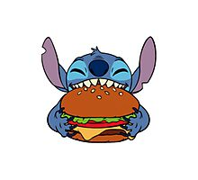Stitch eating hamburger Photographic Print