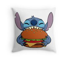 Stitch eating hamburger Throw Pillow