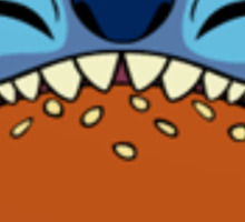 Stitch eating hamburger Sticker