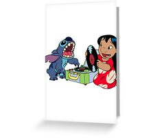 Lilo and Stitch listen to music Greeting Card