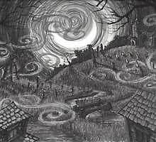 Moonlit Village by Sladeside