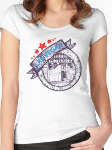 Las Vegas theme illustration Women's Fitted Scoop T-Shirt