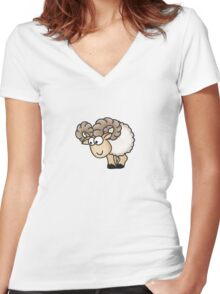 Funny Aries Sheep Women's Fitted V-Neck T-Shirt
