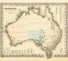 MAP of MYSTERIOUS AUSTRALIA  c. 1850 by Daniel-Hagerman