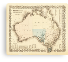 MAP of MYSTERIOUS AUSTRALIA  c. 1850 Canvas Print