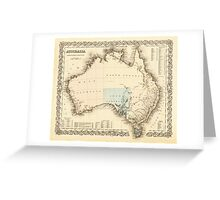 MAP of MYSTERIOUS AUSTRALIA  c. 1850 Greeting Card