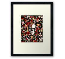 In bloom floral skull Framed Print