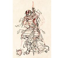 INJURED SAMURAI DRINKING SAKE c. 1870 Photographic Print