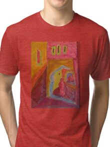 Atlas Travel Desert Caravan 2 village t shirt Tri-blend T-Shirt