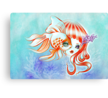 Dreamland Muses - Jellyfish Girl & Goldfish Canvas Print