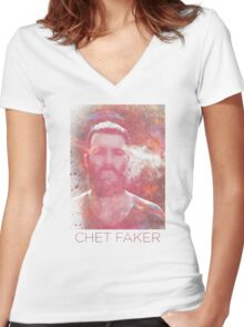 Chet Faker Women's Fitted V-Neck T-Shirt