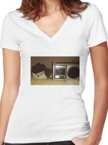 Radio Cat Takes A Nap Women's Fitted V-Neck T-Shirt