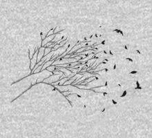 Tree Birds (Black & White) One Piece - Long Sleeve