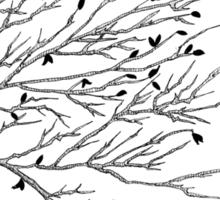 Tree Birds (Black & White) Sticker