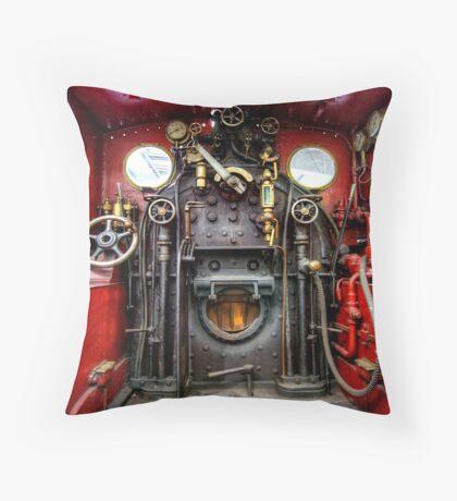 Steam Train Cockpit Throw Pillow