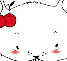 A little bunny eating cherries Sticker