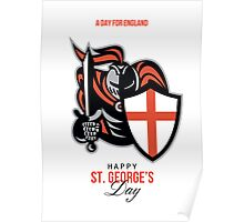 A Day for England Happy St George Greeting Card Poster