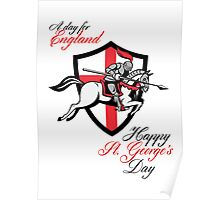 Happy St George Day A Day For England Retro Poster Poster