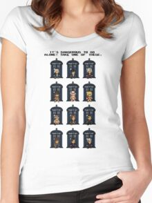 8-bit Doctor Who Women's Fitted Scoop T-Shirt