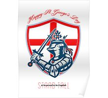 Proud to Be English Happy St George Day Shield Card Poster