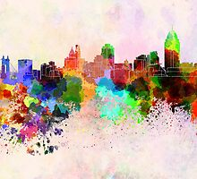 Cincinnati skyline in watercolor background by paulrommer