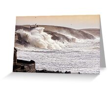 The Battering Of Porthleven by Storm Charlie 8.1.14 Greeting Card