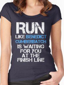 Run Like Benedict Cumberbatch is Waiting (dark shirt) Women's Fitted Scoop T-Shirt