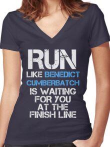 Run Like Benedict Cumberbatch is Waiting (dark shirt) Women's Fitted V-Neck T-Shirt