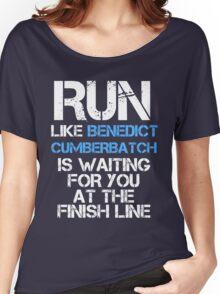 Run Like Benedict Cumberbatch is Waiting (dark shirt) Women's Relaxed Fit T-Shirt