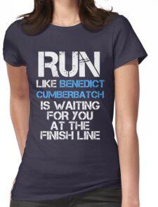 Run Like Benedict Cumberbatch is Waiting (dark shirt) Womens Fitted T-Shirt