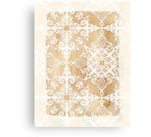 White Doodle Pattern on Sepia Ink Canvas Print
