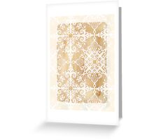 White Doodle Pattern on Sepia Ink Greeting Card