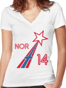 NORWAY STAR Women's Fitted V-Neck T-Shirt