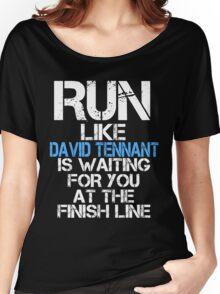 Run Like David Tennant is Waiting (dark shirt) Women's Relaxed Fit T-Shirt