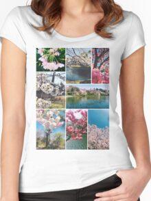 Beautiful Sakura Cherry Blossoms Park Pond Garden Spring Women's Fitted Scoop T-Shirt