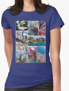 Beautiful Sakura Cherry Blossoms Park Pond Garden Spring Womens Fitted T-Shirt