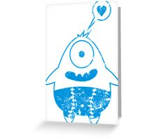 blaues monster mit herz Greeting Card