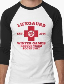 Sochi Winter Games Lifeguard Bio Hazard  Rescue Team  Men's Baseball ¾ T-Shirt