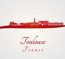 Toulouse skyline in red by paulrommer