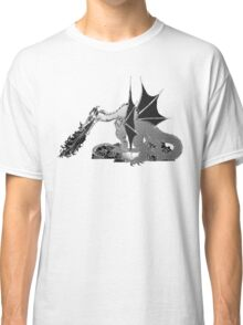 Dragon on Pile of Skulls in Black and White Classic T-Shirt
