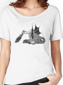 Dragon on Pile of Skulls in Black and White Women's Relaxed Fit T-Shirt