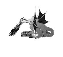 Dragon on Skulls in Black and White by Silverepiphany