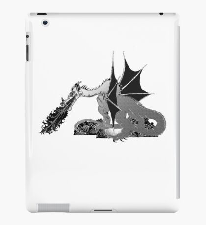 Dragon on Skulls in Black and White iPad Case/Skin