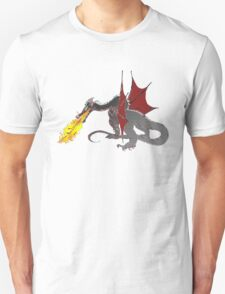 Dragon Breathing Fire on Pile of Skulls in full color T-Shirt