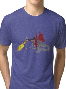 Dragon Breathing Fire on Pile of Skulls color blocks Tri-blend T-Shirt