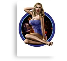 Bad Wolf - Aircraft Pin Up Girl Canvas Print