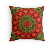 Orange , red and green mandala. Throw Pillow