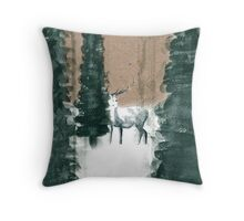 Reindeer in the Forest Throw Pillow