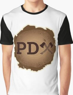 PD Axe on Wood Grain Graphic T-Shirt